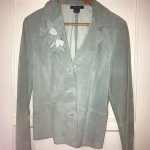 Sweet turquoise leather dressy jacket